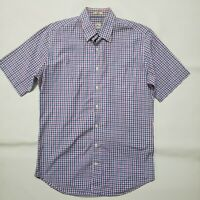 Peter Millar Mens Med Blue Purple Plaid SS Button Front Shirt W Front Pocket