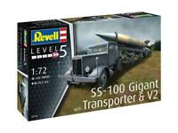 REVELL® 1:72 SCALE SS-100 GIGANT TRANSPORTER & V2 MODEL VEHICLE TRUCK KIT 03310