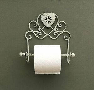 Grey Heart Toilet Roll Holder Wall Mounted Shabby Chic Bathroom Tissue Holder