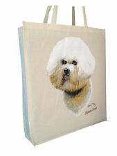 Bichon Frise (b) Cotton ShoppingTote  Bag with Gusset and Long Handles