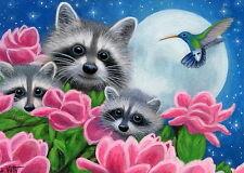 Raccoon family wildlife magnolia flowers moon hummingbird OE aceo print art