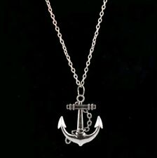 Fashion Women Anchor Beaded Silver Alloy Necklace Pendant Sweater Chain Gift CH