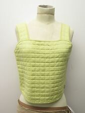 Chanel Identification Pastel Yellow Quilted Cotton Crop Tank Top Sz S/XS
