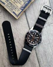 The Nero: Premium Black Seatbelt Nylon Watch Strap   18mm 20mm 22mm & Extra Long