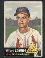 1953 Topps #168 Willard Schmidt VG/VGEX RC Rookie Cardinals 80128