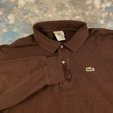 Lacoste Sz 6 Handsome Brown Long Sleeve Polo Men's Casual Shirt