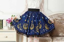 Cosplay Lolita Fantasy Gothic Blue Magician Wizard Skirt