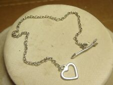 sterling silver 925 bracelet love ARROW THROUGH HEART  7 1/2 estate jewelry