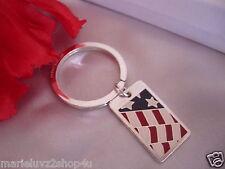 Tiffany Silver & Enamel 1994 American Flag Key Ring/Fob  RARE ! 17.2 Grams $2GO
