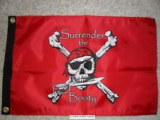 "PIRATE FLAG 12""X18"" DOUBLE SIDED SURRENDER THE BOOTY BOAT/MOTORCYCLE (RED)"