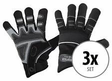 3 Paar professionelle Rigger Handschuhe mit langen Fingern, Kunstleder Schwarz