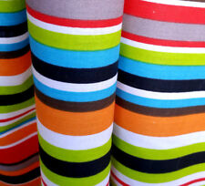 """SUMMER STRIPES MULTI-COLOR STRIPED POLY COTTON TABLECLOTH FABRIC 60"""" Bythe Yard"""