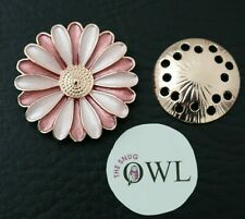 DAISY FLOWER MAGNETIC BROOCH Pink Rose Gold FLORAL BROOCHES Scarf PIN CLIPS UK