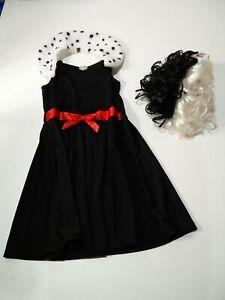 GIRLS DISNEY 101 DALMATIONS AGE 7-8 DRESS & WIG HALLOWEEN FANCY DRESS COSTUME