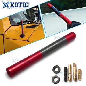 """JDM Red 5"""" Screw On Carbon Fiber Aluminum Short Antenna Kit Universal For Car"""