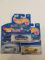Hot wheels Mercedes SLK Lot Of 3 Yellow Silver Metallic Blue
