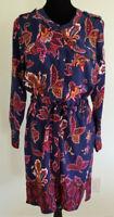 Liz Claiborne Blue Red Paisley DRESS Size Petite Large PL NEW Long Sleeves
