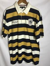 Tommy Hilfiger Mens Polo Stripped Shirt White Yellow And Navy Blue Size XL