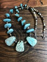 """#1066 Turquoise Chunky 19"""" Necklace, Heishi, Navajo Sterling Silver Hook And Eye"""