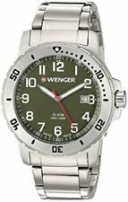 Wenger Men's Black Dial Quartz Silver-Tone Analog Watch 01.1341.107 USA SELLER