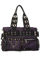Gothic Rockabilly Emo Punk Black Purple Stripes Handcuff Bag By Banned Apparel