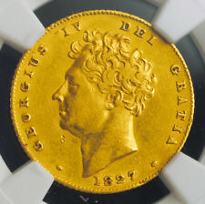 """1827, Great Britain, George IV. Gold """"Bare Bust"""" Half Sovereign Coin. NGC XF+"""