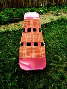 Vtg Folding Aluminum Chaise Lounge Lawn Beach Chair  PVC Tubing - red  & orange