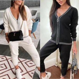 UK New Women Ladies Knit  Zip V Neck Tracksuit Set 2Pcs Lounge Wear