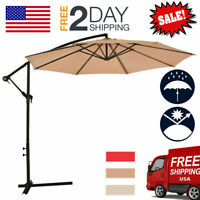 Patio Umbrella Offset 10' Hanging Umbrella Outdoor Market Beach Garden Umbrella