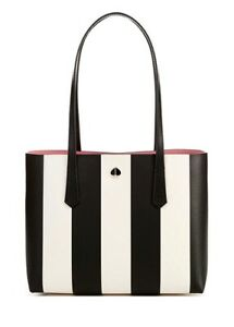 Last One! NWT Kate Spade Black White Stripe Pink Interior MOLLY SMALL Tote
