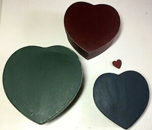 Set of 3 Nesting Heart Shaped Wooden Boxes Primitive