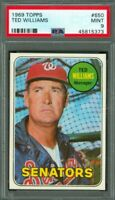 1969 Topps #650 Ted Williams - HOF - Senators - PSA 9 - MINT - 45815373 - (SCA)