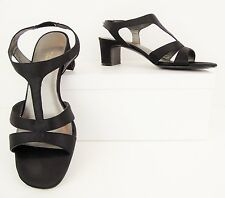Easy Spirit True Spirit Black Satin T-Strap Slingback Open Toe Heels 6M (S467)
