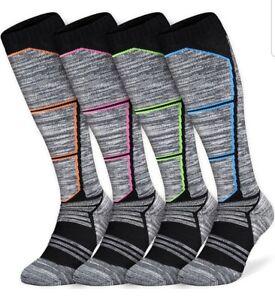 2/4 Pairs of Men and Women Ski Socks, Thermal Snow Skiing Socks, High...