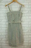 Morrissey Slip Dress Blue, Cream Stripe 100% Cotton Sz 1