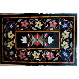 """24 x 36"""" Black Marble Coffee Table Top Stone Sofa Table with Colorful Flower Art"""