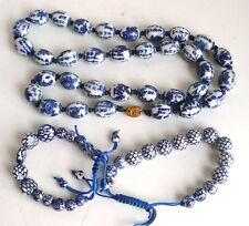 "Vintage Set Chinese Porcelain White Blue Beads Necklace 28"" & 2 Bracelets"