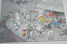 GRAVURE LANDRIN BD COULEURS SCENE DE CAFE