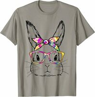 Dy Cute Bunny Face Tie Dye Glasses Easter Day T-Shirt