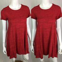 LulaRoe Women's XXS Solid Red Heather Knit High Low Carly Shirt Dress Trapeze
