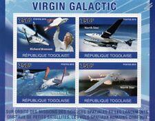 Richard Branson VIRGIN GALACTIC Space Tourism Spacecraft Stamp Sheet (2010 Togo)