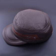 Men's Genuine Cowhide Leather Cap Winter Warm Vintage Outdoor Sports Hats
