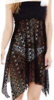 STYLUS L/XL Black Strapless Lace Mesh Cover Up   Skirt Dress EUC