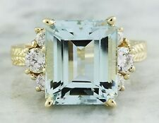 7.86 Carat Genuine Aquamarine 14K Solid Yellow Gold Luxury Diamond Ring