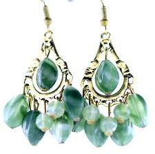 Vintage retro-stil bronze und grün acryl perle kronleuchter ohrringe