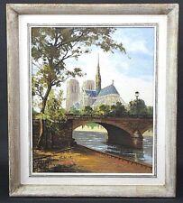 Vtg MARCEL HARANGUE (HARANG) LISTED FRENCH ARTIST Oil on Canvas Notre Dame