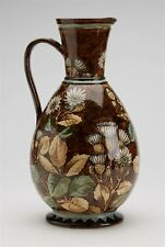 ANTIQUE DOULTON LAMBETH FAIENCE FLORAL PAINTED JUG 1877