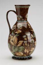 Antique DOULTON LAMBETH faïence floral peint carafe 1877