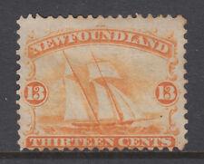 Newfoundland Sc 30 MNG. 1865 13c orange Sailing Ship, couple of toned perf tips