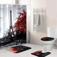 Eiffel Tower Non-slip Shower Curtain Floor Mat Set Bathroom Toilet Carpet Decor